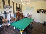 Games room with snooker, darts, playstation, karoke and loads more
