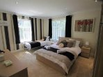 Master bedroom with 1 king and 1 single beds.  Travel cot also available. Sleeps 3
