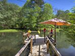 Utilize the private dock and canoe for a fun excursion on the private pond.