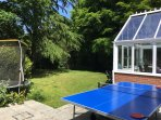 Trampoline and tennis table