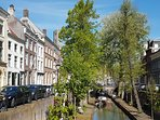 Nieuwegracht and our house on the left and the Domtower in the background