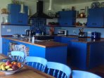 Blue kitchen at Three Gables