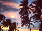 Maui sunsets fill the sky with beautiful colors and rainbow striped skies.