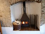 Cosy evenings by the log stove , on small complex with shared indoor heated pool open all year.