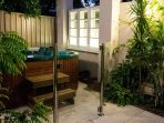 Bakery Garden split level townhouse has a sunny courtyard, fence jacuzzi spa and covered patio