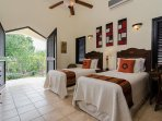Twin private suite Africa, with pool & garden facing balcony
