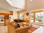 Kitchen/family area. there are 2 sets of patio doors leading to the pool area.