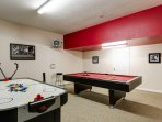 Games room pool table and air hockey table