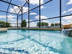 Pool with separate spa. Optional pool heat and there are lights for night swimming - not overlooked