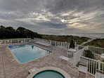 heated pool and spa steps from beach