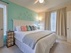 Sink into this king-sized bed at the end of an exciting day!