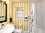 2nd full shower/tub bathroom shared by the queen & king bedroom