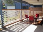 Outdoor covered patio, social area, barbecue grill nearby