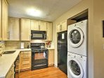 Stacked washer and dryer.