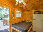 This cabin is equipped with a full size refrigerator, microwave and coffee maker.