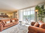 A queen-sized sleeper sofa offers additional accommodations!