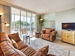 You're sure to enjoy plush furniture, tropical decor, and a large flat-screen cable TV, perfect for watching all of...