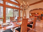 The elegant dining table can seat up to 10 guests.