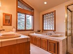 This home features 3 full bathrooms and 1 half bath for guests to use.