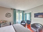 Sprawl out on this plush queen bed and watch your favorite show on the flat-screen Smart TV.