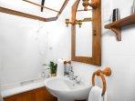 Hazelnut bathroom.