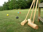 Games lawn with croquet, badminton, volleyball, giant jenga and a shed load of other games and kit!