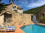 Private pool in enclosed stone courtyard