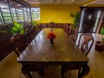 Our custom extra-large dining table easily seats 12