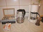 Coffee and tea maker, coffee, tea, sugar
