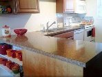 Updated kitchen with dishwasher, full size stove, refrigerator and microwave.  Everything you need.