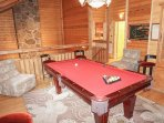 Pool room on second floor loft with 2 king bedrooms.