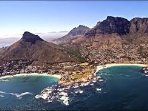 An aerial view of Clifton the left and Camps Bay on the right