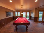 Billiards area in lower level main lodge.