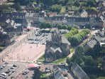 Sainte Mere Eglise from the air - the parachutists would have had this view