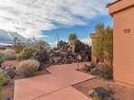 Front Of Town Home Surrounded By Private Lava Rock