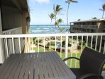 Sitting at the all-weather lanai furniture looking and listening to the waves crashing!
