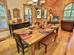 Farmhouse table for family dining.