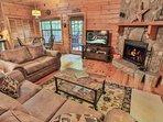 Wood burning fireplace, 48 inch flatscreen tv with Netflix