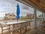 Enjoy views from the expansive mahogany deck!