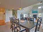 Dine together at the large dining table.