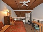 Upper suite with a full size bed and a twin bed.