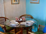 Even on those hot August evenings:  Intimate dining-in, with comfortable AC