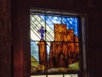 Mission of St. Francis in New Mexico, rendered by glass artist Pat Williams of Nacogdoches.