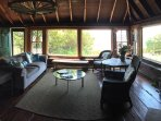 Living room in original structure has views of Vineyard Sound