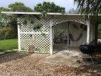 Backyard Hammock Hut with 2 hammocks,  sitting area, charcoal grill and bike storage