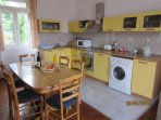 Dining for 6 with well equipped kitchen incl m/wave, oven & hob, fridge, freezer, washing machine