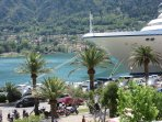Beautiful and interesting Kotor harbour and promenade. Apartment is seen on the distant waterfront