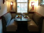Cozy and romantic dining booth for 4