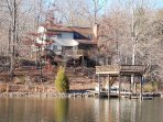 The back of the house and dock, in fall/winter