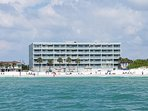 Sea Oats building and beach from the water. You will be top floor in the middle